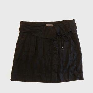Vince Linen Fold Over Wrap Skirt